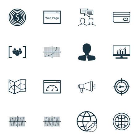 Set Of 16 Universal éditables Icônes pour la publicité, des ressources humaines et des sujets de marketing. Comprend des icônes telles que Goal affaires, Monde, Line Up And More.
