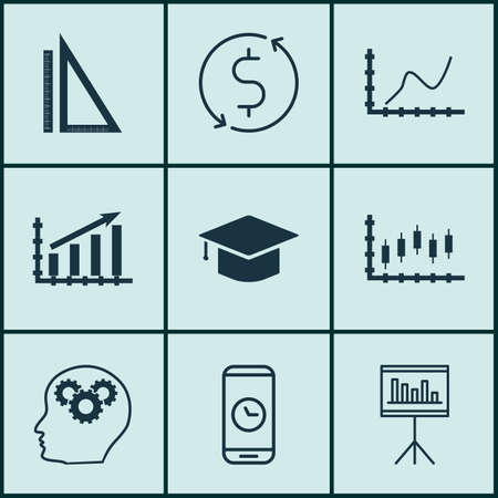 academic touch: Set Of 9 Universal Editable Icons For Project Management, Advertising And Education Topics. Includes Icons Such As Stock Market, Money Trasnfer, Call Duration And More.