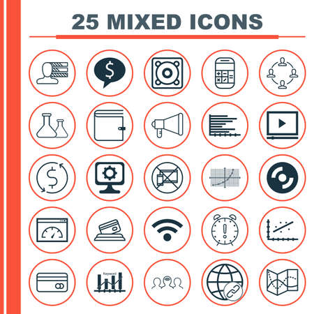 transact: Set Of 25 Universal Editable Icons For Business Management, Education And Project Management Topics. Includes Icons Such As Calculation, Video Player, Coaching And More. Illustration