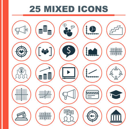 Set Of 25 Universal Editable Icons For Business Management, Human Resources And Airport Topics. Includes Icons Such As Graduation, Cosinus Diagram, Growth And More.