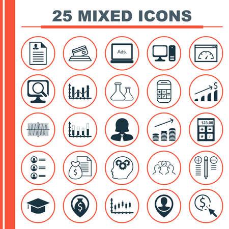 balanza de laboratorio: Conjunto de 25 iconos editables universales para la comercialización, gestión de proyectos y Estadísticas Argumentos. Incluye iconos como mercado de valores, medios digitales, ordenador portátil y mucho más. Vectores