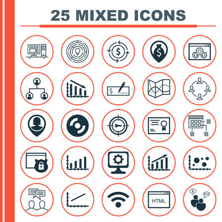 checkbook: Set Of 25 Universal Editable Icons For Education, Computer Hardware And Project Management Topics. Includes Icons Such As PC, Certificate, Line Up And More.