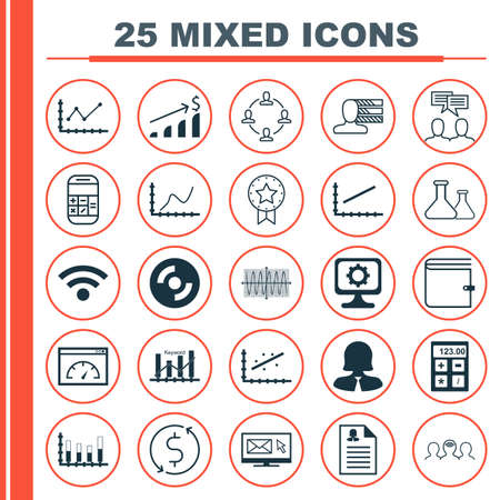 official record: Set Of 25 Universal Editable Icons For Computer Hardware, Marketing And Education Topics. Includes Icons Such As Achievement Graph, Present Badge, PC And More. Illustration
