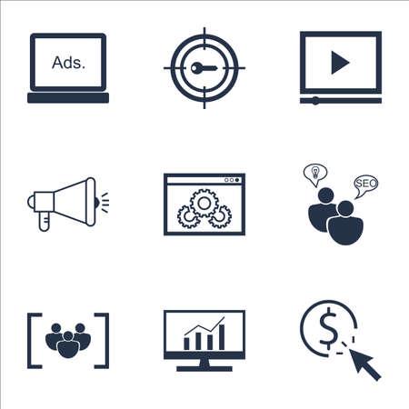 Set di icone pubblicitarie su argomenti di PPC, Digital Media e SEO Brainstorm. Illustrazione vettoriale modificabile. Comprende icone vettoriali di destinazione, community e digital. Archivio Fotografico - 64380687