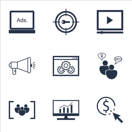 Set Of Advertising Icons On PPC, Digital Media And SEO Brainstorm Topics. Editable Vector Illustration. Includes Target, Community And Digital Vector Icons. Иллюстрация