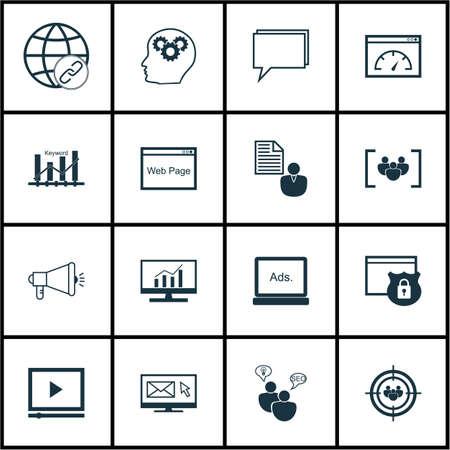 Ensemble d'icônes marketing sur des études de marché, le site et des sujets du groupe de discussion. Editable Vector Illustration. Comprend en ligne, le cerveau et la sécurité icônes vectorielles.