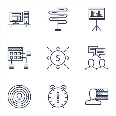 project charter: Set Of Project Management Icons On Schedule, Innovation And Time Management Topics. Editable Vector Illustration. Includes Brainstorming, Date And Meeting Vector Icons.