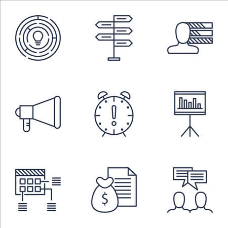 project charter: Set Of Project Management Icons On Report, Discussion And Personal Skills Topics. Editable Vector Illustration. Includes Project, Personal And Discussion Vector Icons.