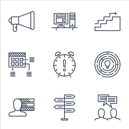 personality development: Set Of Project Management Icons On Time Management, Computer And Growth Topics. Editable Vector Illustration. Includes Brainstorming, Advertising And Skills Vector Icons. Illustration