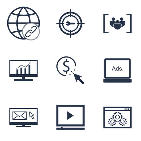 Set Of SEO Icons On Connectivity, Website Performance And Video Player Topics. Editable Vector Illustration. Includes Focus, Bulding And Newsletter Vector Icons.