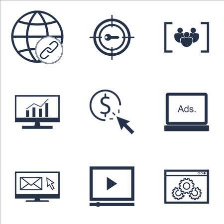 Ensemble d'icônes de référencement sur la connectivité, les performances du site Web et les sujets de lecteur vidéo. Illustration vectorielle modifiable Comprend les icônes vectorielles Focus, Bulding et Newsletter.