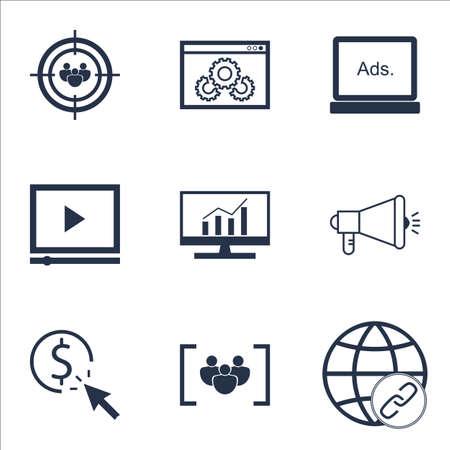Ensemble d'icônes marketing sur un groupe de discussion, lecteur vidéo et le questionnaire Sujets. Editable Vector Illustration. Comprend la publicité, Matching et Focus icônes vectorielles.