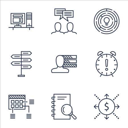 project charter: Set Of Project Management Icons On Schedule, Discussion And Money Topics. Editable Vector Illustration. Includes Notebook, Making And Schedule Vector Icons.