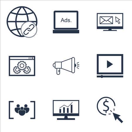 Ensemble d'icônes de SEO sur la campagne de médias, la connectivité et les sujets de performance de site Web. Illustration vectorielle modifiable Comprend le marketing, les icônes vectorielles complètes et virales.