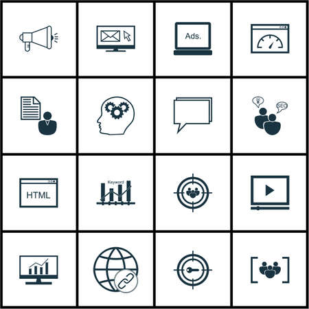 keyword research: Set Of Marketing Icons On Keyword Marketing, Keyword Optimisation And Market Research Topics. Editable Vector Illustration. Includes Web, Page And Research Vector Icons.