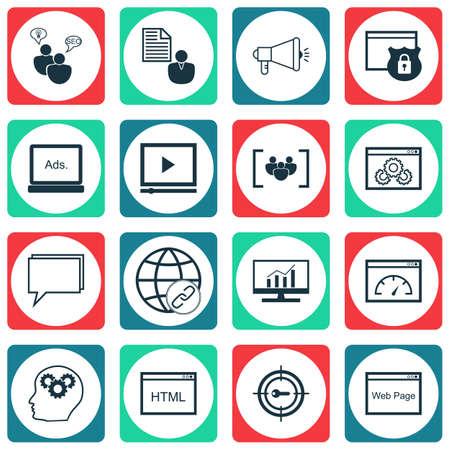 Set Of SEO icônes sur la performance du site Web, de conférence et de codage Sujets. Editable Vector Illustration. Comprend Code, dynamique et en ligne icônes vectorielles.