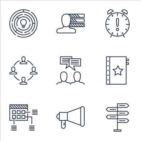 project charter: Set Of Project Management Icons On Personal Skills, Opportunity And Schedule Topics. Editable Vector Illustration. Includes Announcement, Quality And Making Vector Icons.