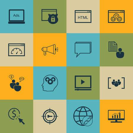 Set Of SEO icônes sur le rapport, les mots-clés du marketing et questionnaire Sujets. Editable Vector Illustration. Comprend Link, paiement et cliquez sur icônes vectorielles.