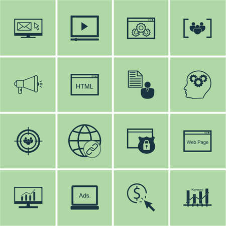 ppc: Set Of Advertising Icons On Market Research, Video Player And PPC Topics. Editable Vector Illustration. Includes Browser, Ranking And Dynamics Vector Icons. Illustration