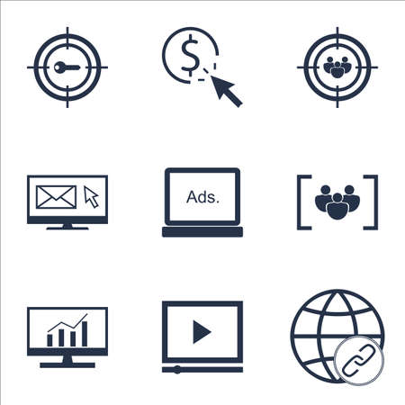 ppc: Set Of Marketing Icons On Focus Group, PPC And Digital Media Topics. Editable Vector Illustration. Includes Target, Bulding And Click Vector Icons.