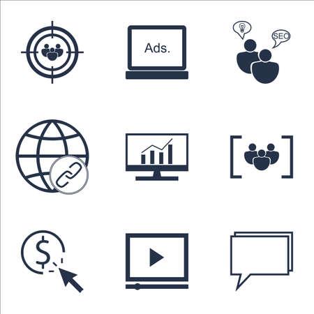 Set Of publicité icônes sur le référencement Brainstorm, connectivité et des sujets des médias numériques. Editable Vector Illustration. Comprend la recherche, groupe et afficher icônes vectorielles.