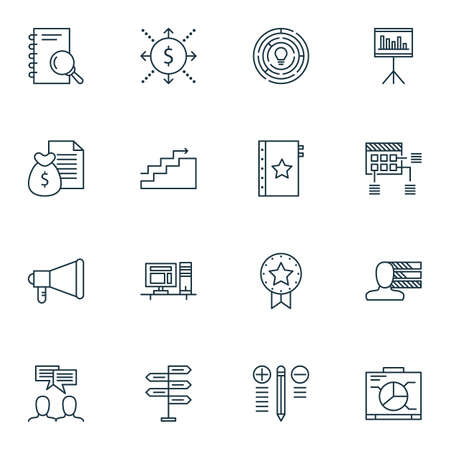 personality development: Set Of Project Management Icons On Report, Money And Schedule Topics. Editable Vector Illustration. Includes Office, Chart And Schedule Vector Icons. Illustration
