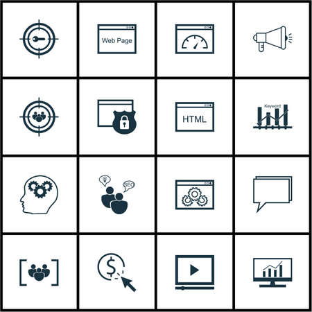 Set Of Marketing Icons On PPC, SEO Brainstorm And Brain Process Topics. Editable Vector Illustration. Includes Target, Conference And Consulting Vector Icons.