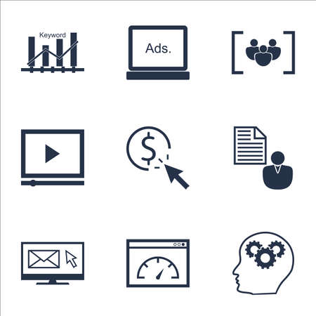 ppc: Set Of Marketing Icons On PPC, Questionnaire And Newsletter Topics. Editable Vector Illustration. Includes Video, Creativity And Newsletter Vector Icons.