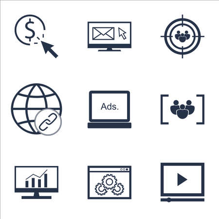 Set Of Advertising Icons On Website Performance, Questionnaire And Focus Group Topics. Editable Vector Illustration. Includes Newsletter, Digital And Optimization Vector Icons.