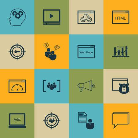 keyword research: Set Of Marketing Icons On Website Performance, Digital Media And Keyword Marketing Topics. Editable Vector Illustration. Includes Group, Research And Optimization Vector Icons.
