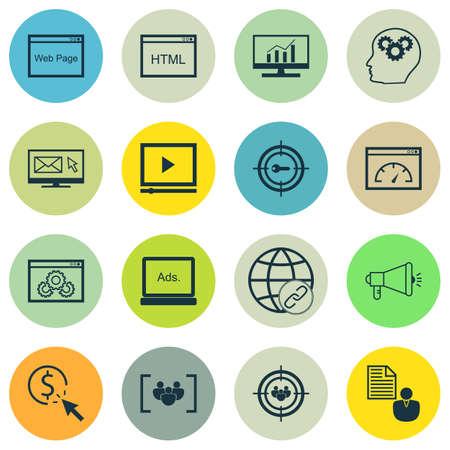 Ensemble d'icônes de référencement sur le questionnaire, les médias numériques et les sujets de marketing par mots clés. Illustration vectorielle modifiable Comprend le client, la publicité et les icônes vectorielles Bulding.