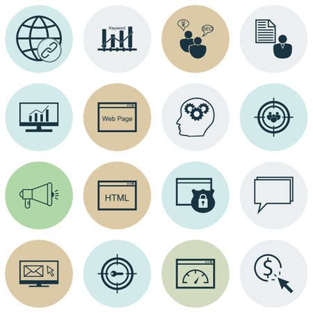 ppc: Set Of Advertising Icons On Connectivity, Media Campaign And PPC Topics. Editable Vector Illustration. Includes Protected, Newsletter And Dynamics Vector Icons.