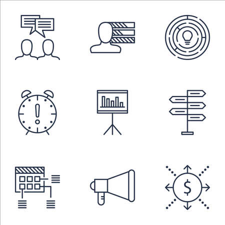 ability to speak: Set Of Project Management Icons On Innovation, Presentation And Personal Skills Topics. Editable Vector Illustration. Includes Time, Decision And Deadline Vector Icons. Illustration