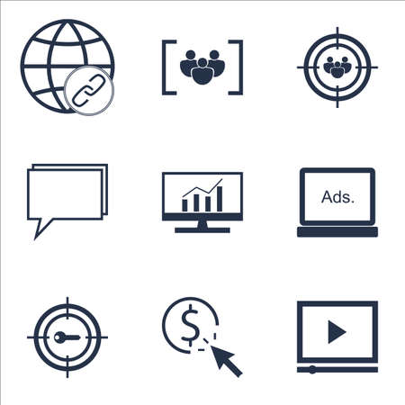 Set Of Advertising Icons On Video Player, Conference And Market Research Topics. Editable Vector Illustration. Includes Consulting, Click And Per Vector Icons.