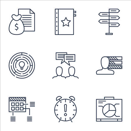 project charter: Set Of Project Management Icons On Innovation, Discussion And Schedule Topics. Editable Vector Illustration. Includes Management, Plan And Discussion Vector Icons.