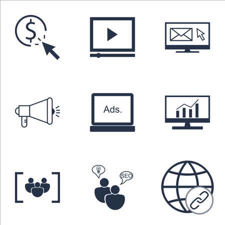 Set Of SEO Icons Sur Etude du marché, de connectivité et PPC Sujets. Editable Vector Illustration. Comprend la publicité, affichage et Focus icônes vectorielles.