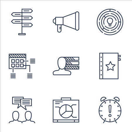 project charter: Set Of Project Management Icons On Opportunity, Announcement And Personal Skills Topics. Editable Vector Illustration. Includes Dashboard, Personality And Fork Vector Icons.