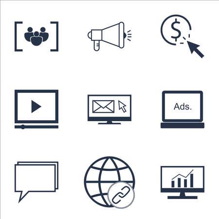 Ensemble d'icônes de SEO sur la conférence, la campagne de médias et les sujets de bulletin. Illustration vectorielle modifiable Comprend des icônes vectorielles, de conseil et de cible.