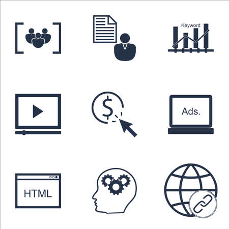 keyword: Set Of SEO Icons On Questionnaire, Report And Keyword Optimisation Topics. Editable Vector Illustration. Includes Keyword, Link And Matching Vector Icons.
