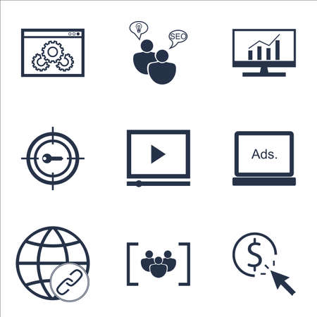 ppc: Set Of SEO Icons On Connectivity, PPC And Questionnaire Topics. Editable Vector Illustration. Includes Per, Click And Consulting Vector Icons.