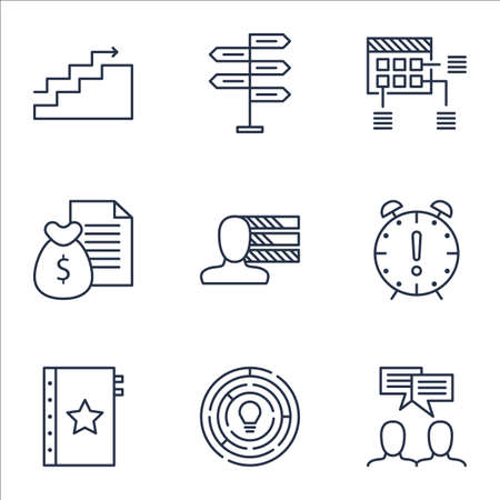 personality development: Set Of Project Management Icons On Time Management, Personal Skills And Growth Topics. Editable Vector Illustration. Includes Discussion, Meeting And Personality Vector Icons.