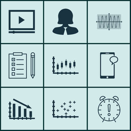 account executive: Set Of 9 Universal Editable Icons For SEO, Project Management And Statistics Topics. Includes Icons Such As Messaging, Time Management, Business Woman And More.