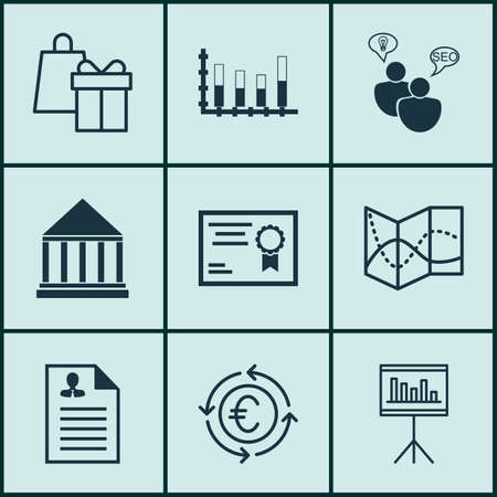 pillar box: Set Of 9 Universal Editable Icons For Education, Project Management And Travel Topics. Includes Icons Such As Segmented Bar Graph, Currency Recycle, Curriculum Vitae And More.