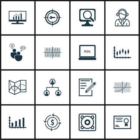 line up: Set Of 16 Universal Editable Icons For Statistics, Advertising And Airport Topics. Includes Icons Such As Laptop, Line Up, Cosinus Diagram And More.