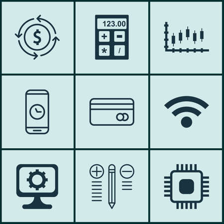 circuit sale: Set Of 9 Universal Editable Icons For Travel, Airport And Education Topics. Includes Icons Such As Chip, Financial, Stock Market And More. Illustration