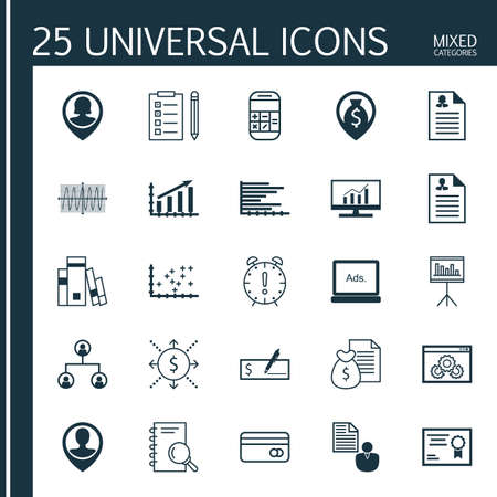 appointment book: Set Of 25 Universal Editable Icons For Human Resources, Education And SEO Topics. Includes Icons Such As Calculation, Reminder, Employee Location And More. Illustration