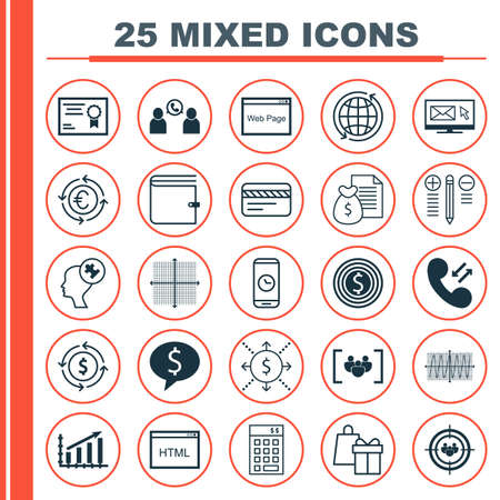 cosinus: Set Of 25 Universal Editable Icons For School, Project Management And Hr Topics. Includes Icons Such As Cosinus Diagram, Graphical Grid, Phone Conference And More. Illustration
