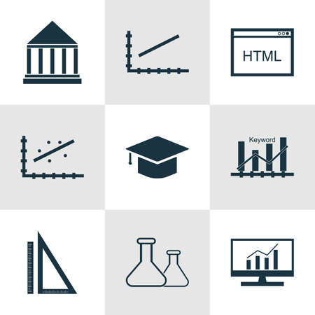 optimisation: Set Of 9 Universal Editable Icons For Marketing, Education And Advertising Topics. Includes Icons Such As Analytics, Keyword Optimisation, Line Up And More.