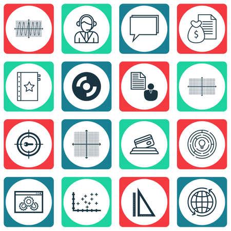Set di 16 icone modificabili universali per aeroporto, gestione dei progetti e argomenti SEO. Include icone come report, mondo, diagramma quadrato e altro ancora.