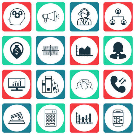 cosinus: Set Of 16 Universal Editable Icons For Statistics, Human Resources And SEO Topics. Includes Icons Such As Cosinus Diagram, Cooperation, Raise Diagram And More. Illustration
